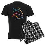 Colorful Clarinets Men's Dark Pajamas