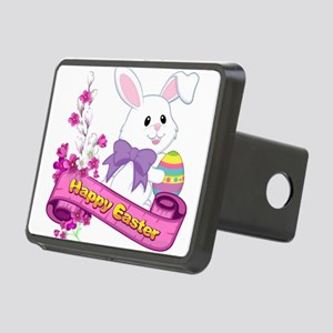 White Easter Bunny Banner Hitch Cover