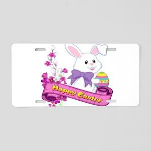 White Easter Bunny Banner Aluminum License Plate