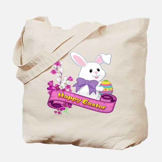 White Easter Bunny Banner Tote Bag