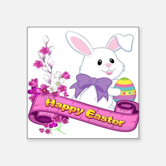 White Easter Bunny Banner Sticker