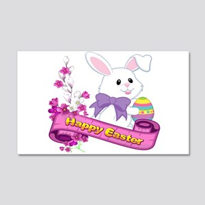 White Easter Bunny Banner 20x12 Wall Decal