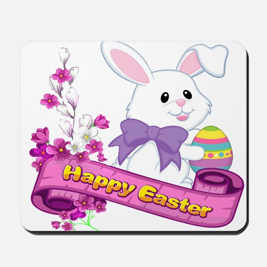 White Easter Bunny Banner Mousepad