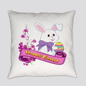 White Easter Bunny Banner Everyday Pillow
