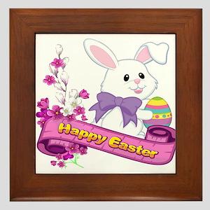 White Easter Bunny Banner Framed Tile