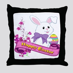 White Easter Bunny Banner Throw Pillow