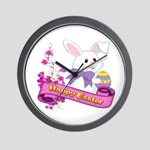 White Easter Bunny Banner Wall Clock