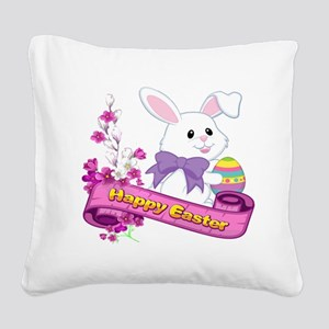 White Easter Bunny Banner Square Canvas Pillow