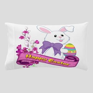 White Easter Bunny Banner Pillow Case