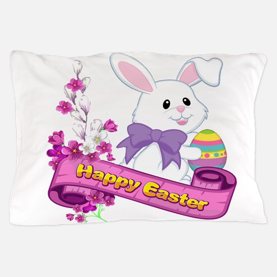 White Easter Bunny Banner Pillow Case