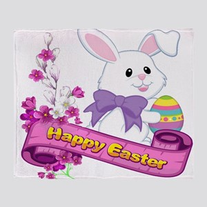 White Easter Bunny Banner Throw Blanket