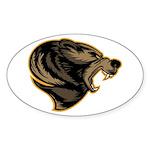 angry bear Sticker (Oval 10 pk)