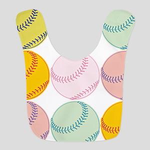 Watercolor Baseballs Polyester Baby Bib