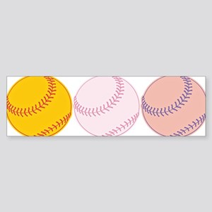 Watercolor Baseballs Bumper Sticker