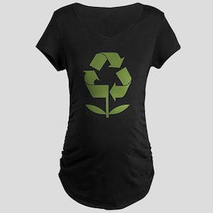 Recycle Flower Maternity Dark T-Shirt