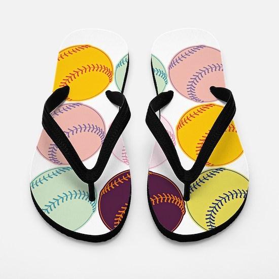 Watercolor Baseballs Flip Flops