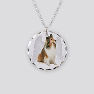 Sheltie Angel Necklace Circle Charm