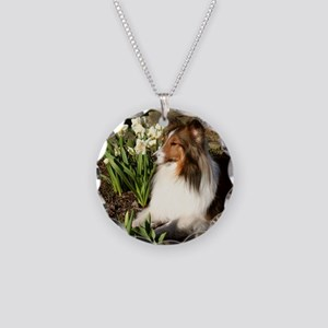 Spring Sheltie Necklace Circle Charm