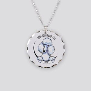 White Standard Poodle IAAM Necklace Circle Charm