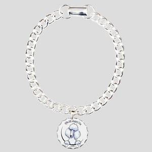 White Standard Poodle IAAM Charm Bracelet, One Cha