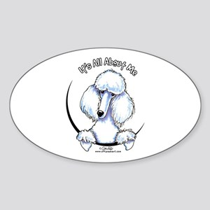 White Standard Poodle IAAM Sticker (Oval)