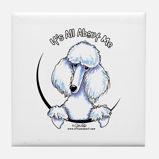 White Standard Poodle IAAM Tile Coaster
