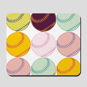 Watercolor Baseballs Mousepad