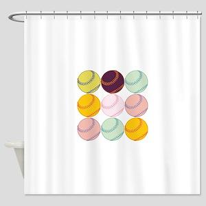 Watercolor Baseballs Shower Curtain