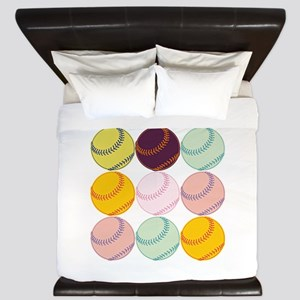Watercolor Baseballs King Duvet
