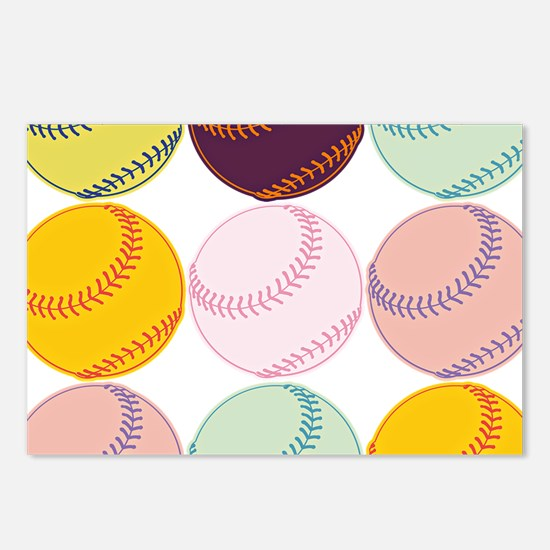 Watercolor Baseballs Postcards (Package of 8)