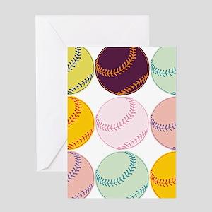 Watercolor Baseballs Greeting Cards