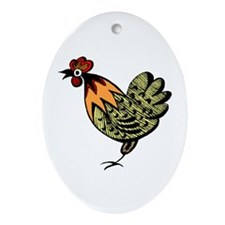 Hen Oval Ornament