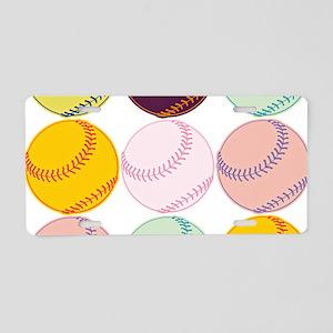 Watercolor Baseballs Aluminum License Plate