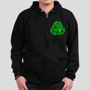 Green Glow Biohazard Zip Hoodie (dark)