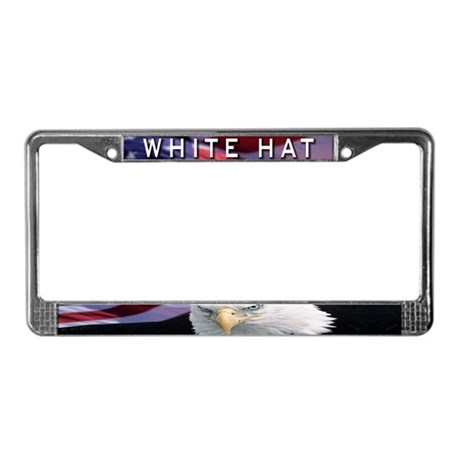 White Hat License Plate Frame