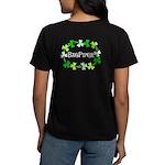 Bagpipe Shamrock Oval Women's Dark T-Shirt