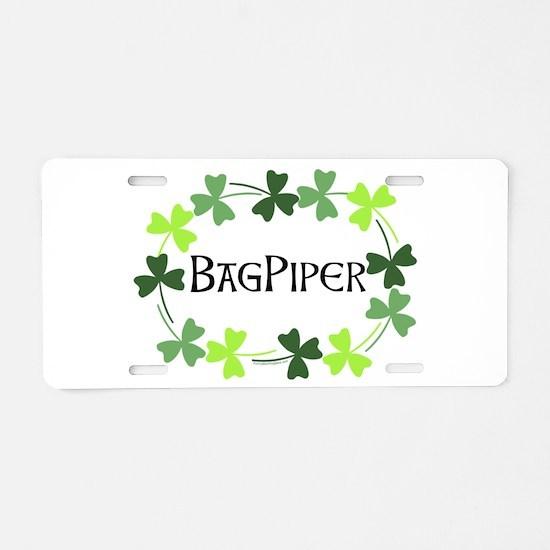 Bagpipe Shamrock Oval Aluminum License Plate