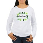 Bagpipe Shamrock Oval Women's Long Sleeve T-Shirt