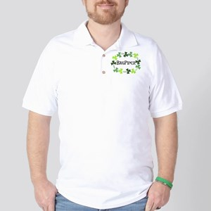 Bagpipe Shamrock Oval Golf Shirt