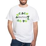 Bagpipe Shamrock Oval White T-Shirt