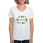 Bagpipe Shamrock Oval Women's V-Neck T-Shirt