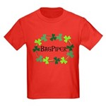 Bagpipe Shamrock Oval Kids Dark T-Shirt