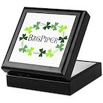 Bagpipe Shamrock Oval Keepsake Box