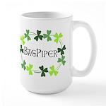 Bagpipe Shamrock Oval Large Mug