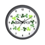Bagpipe Shamrock Oval Wall Clock