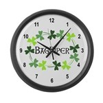 Bagpipe Shamrock Oval Large Wall Clock