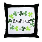 Bagpipe Shamrock Oval Throw Pillow