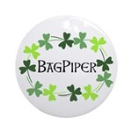 Bagpipe Shamrock Oval Ornament (Round)