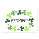 Bagpipe Shamrock Oval Postcards (Package of 8)