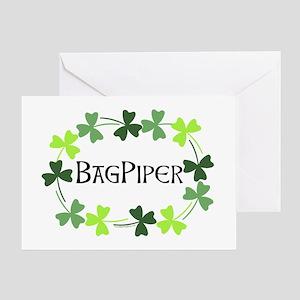 Bagpipe Shamrock Oval Greeting Card